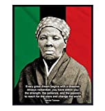 Harriet Tubman Quote, African American Flag, Black History Month Wall Art - 8x10 Home Decor Poster Print, Wall or Classroom Decoration - Gift for Teacher, Civil Rights Fan - Unframed Photo Picture