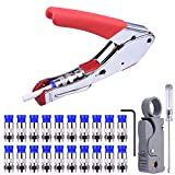 NOUVCOO Compression Tool Kit, RG59 RG6 Coax Crimping Tool Double Blades Coaxial Cable