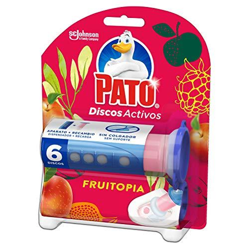 PATO® Discos Activos WC Frutopia, Limpia y Desinfecta, Contiene 1 Aplicador + 1 Recambio