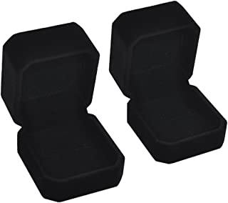 iSuperb Set of 2 Unit Classic Velvet Couple Ring Box Earring Jewelry Case Gift Boxes 2.2x1.9x1.6 inch
