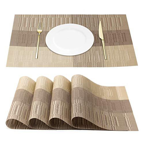 Chrider Placemats Set of 4 Heat-Resistant Woven Vinyl Placemat Washable PVC Mats Set Non-Slip Premium Plastic Table Mats for Dining Table Kitchen Table Gold