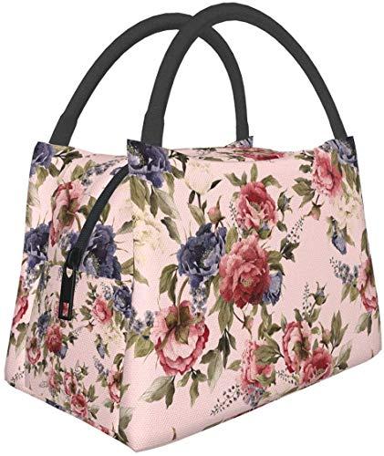Shabby Chic Rose Lunch Bag Aislada Lunch Box Cooler Bolsa de asas para mujeres-8