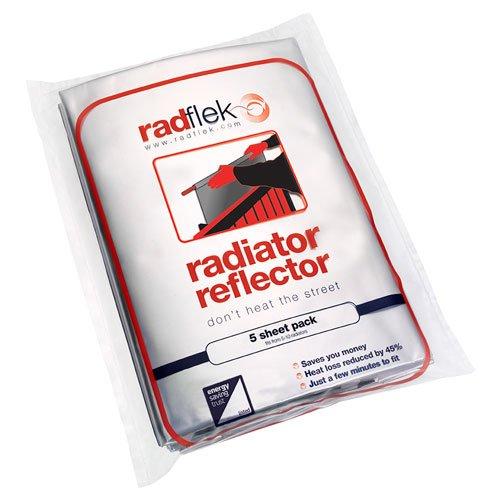 Radflek - Pannelli termoriflettenti per termosifoni, con strisce adesive termoriflettenti Radstik, confezione da 5 pannelli e 4 strisce Radstik, per isolare fino a 10 termosifoni