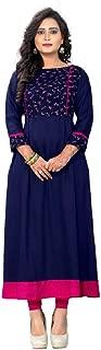 ziya Women's Round and Straight Cotton Ethnic Embroidered Tunic Kurti 105/115
