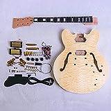 GD240 Coban Es Caoba Acolchado Arce Chapa Superior Cuerpo Hueco Kit Guitarra Eléctrica