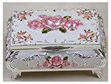 CHXISHOP Portagioie rettangolare vintage - Rose Flower Jewelry Box Organizzatore a due strati scrigno del tesoro scatola portagioie decorativa ricordo C