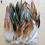 qingsb - 50 plumas naturales de cola de gallo de 13 a 20 cm para decoración de ropa, natural, 50 Pcs