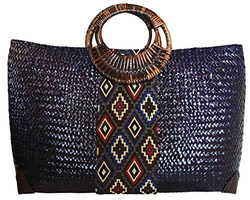 Rotfuchs Damentasche Handtasche Strohtasche Einkaufstasche Strandtasche mehrere Farbe Handgefertigt aus Schilf (Marine)