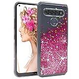 EAZY CASE Hülle kompatibel mit LG K61 Schutzhülle mit Flüssig-Glitzer, Handyhülle, Schutzhülle, Back Cover mit Glitter Flüssigkeit, TPU/Silikon, Transparent/Durchsichtig, Pink