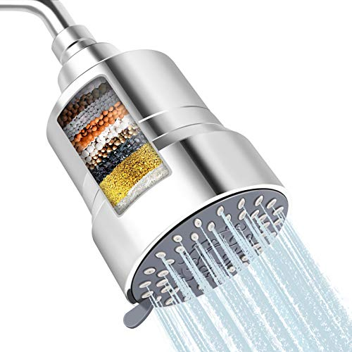 High Pressure Shower Head Filter, FEELSO 2-IN-1 15 Stages High Output Hard Water Softener Showerhead with Filter Cartridge for Hard Water Remove Chlorine and Harmful Substances