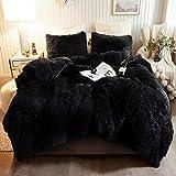 XeGe Plush Shaggy Duvet Cover Set Luxury Ultra Soft Crystal Velvet Bedding Sets 3 Pieces(1 Faux Fur Duvet Cover + 2 Faux Fur Pillow case),Zipper Closur (Queen, Black)