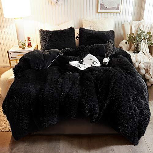 XeGe Plush Shaggy Duvet Cover Set Luxury Ultra Soft Crystal Velvet Bedding Sets 3 Pieces(1 Faux Fur Duvet Cover + 2 Faux Fur Pillow case),Zipper Closur (King, Black)