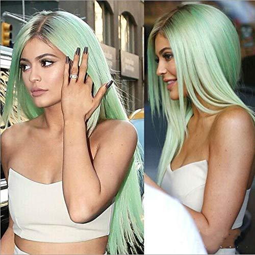 Cheveux longs raides vert menthe, racine de cheveux foncés, 65cm , cheveux naturels, soie haute température à fibres chimiques, perruque femme pour un