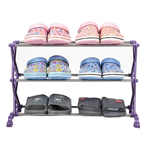 ZZYE Zapatero Bastidores de Zapatos 3 Niveles Almacenamiento de plástico Organizador de Zapatos Estantes 6 Pares (púrpura) 56 * 26 * 35 cm Perchero Zapatero