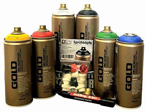 Sprühdosen Montana Gold Grundfarben + schwarz & weiss + Ersatzsprühköpfe + Edding permanent Marker für Hobby Handwerk Graffiti Acryllack zum Lackieren und Dekorieren von Glas, Metall, Holz, Leinwand