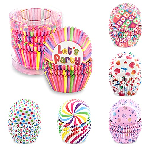 600 Stück Muffinform Papier,Muffinförmchen Cupcake Formen Papier Regenbogen Papier Einweg Backbecher für Backform Dessert Hochzeit Geburtstagsfeier