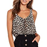 JURTEE Camiseta Leopardo para Mujer Moda Sexy Cuello En V Chaleco Camiseta Clásica Chica Blusa De Verano