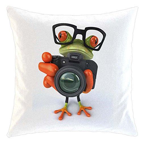 Kissen/weiches Kuschelkissen mit Füllung 40x40cm - Motiv: 3D Frosch mit Fotoapparat und Hipster Brille| 041