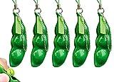 YANGWEN Llavero Squeeze Beans,5PCS Squeeze Bean Llavero Colgantes Cadena de teléfono móvil Los Guisantes reducen la ansiedad y el estrés