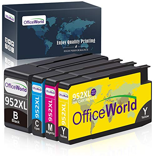 OfficeWorld Remanufactured Ink Cartridge Replacement for HP 952XL Ink Cartridges Combo Pack, with Updated Chips for HP OfficeJet Pro 8710 8720 8740 8730 7740 8210 8715 8216 8725 Printer (4-Pack)