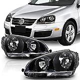 ACANII - For 2006 2007 2008 2009 Volkswagen Jetta GTI MK5 Black Housing Headlights Headlamps Set Driver + Passenger Side