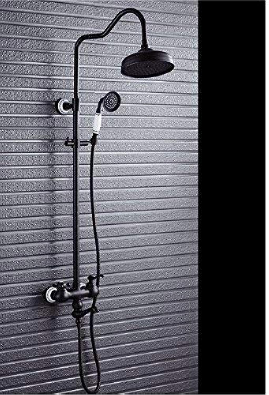 GFF Dusche Ware Badezimmer Europische Dusche Dusche Schwarz Bronze Dusche Set Kupfer Retro Dusche Wasserhahn Wandmontage Dusche Badewanne Dusche Mischbatterie