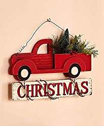 vintage red truck christmas wall hanging dont forget to deck out the tree too i saw a three pack of ornaments at walmart i believe but when i went back