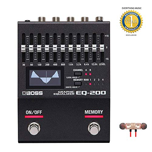 Boss EQ-200 Graphic Equalizer 200 Series Effects Pedal includes Free Wireless Earbuds - Stereo Bluetooth In-ear and 1 Year Everything Music Extended Warranty