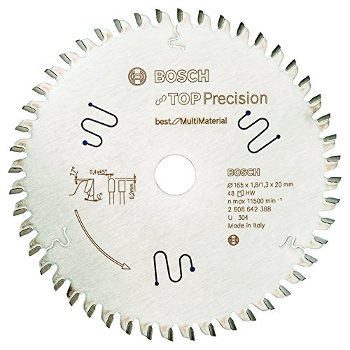 Bosch Professional Kreissägeblatt Top Precision Best für Multi Material, 165 x 20 x 1,8 mm, 48, 2608642388
