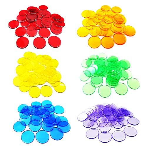 Anyasen Spielchips 300 Stück Transparente Farbzähler Zählen Spielchips Plastechips Bingo Chips Kunststoff Marker Zähler Chips Münzen Spielzeug für Kinder Zahlen Spielzeug (6 Farben)