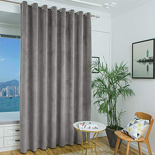 Patio Door Curtains Blackout Velvet - Grey Thermal Insulated Room Darkening Door Blinds for Sliding Glass with Grommet Top, Split Room Divider Curtains (Grey, 100 inches W x 108 inches L, One Panel)
