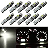 Nuokexin 10pcs T5 Lights Neo Wedge LED 3-SMD 3528 Car Instrument Cluster Panel Dashboard Lamps Gauge Bulbs DC12V White