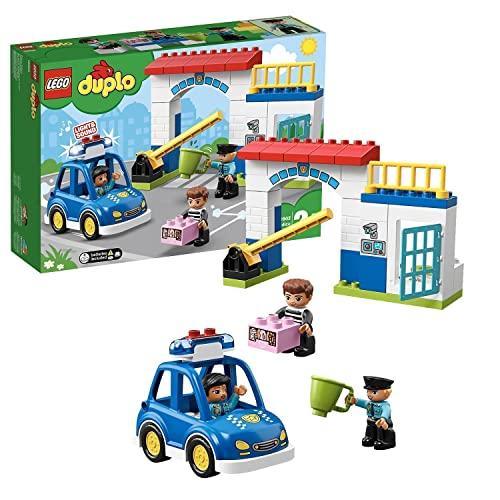 LEGO 10902 DUPLO Polizeistation mit Polizeiauto, Gefängniszelle und 2 Polizisten als Minifiguren, Licht & Geräusche, Spielzeuge für Kleinkinder