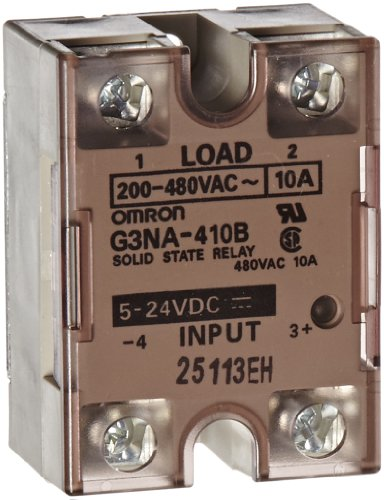 Omron G3NA-410B-DC5-24 Solid State Relay, Zero Cross Function, Yellow Indicator, Photocoupler Isolation, 10 A Rated Load Current, 200 to 480 VAC Rated Load Voltage, 5 to 24 VDC Input Voltage
