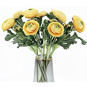 Artificial Ranunculus Flowers with Real Touch Stem, Silk Ranunculus Flowers(10 Pack) (Yellow)