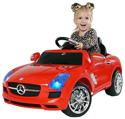 Actionbikes Motors Kinder Elektroauto Mercedes Benz Amg SLS - Lizenziert – Rc 2,4 Ghz Fernbedienung - Led - Mp3 - Soundmodul - Elektro Auto für Kinder ab 3 Jahre - Kinderauto Spielzeug (SLS Rot)