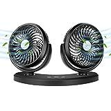 COMLIFE Ventilateur à Double Tête Rotatif Ventilateur USB avec 3 Vitesses Ajustables, Ventilateurs de Refroidissement Silencieux pour Véhicule, Bureau
