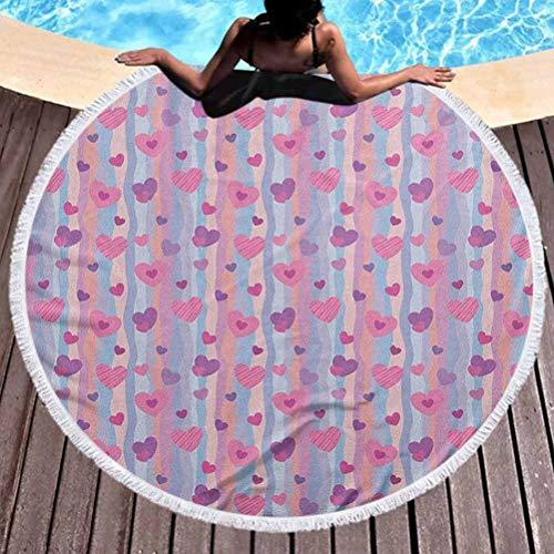 prunushome Beach Towel Love Popular Handicrafts Beach Towel Hearts for Valentine Vertical Stripes Lines Ornament Romance Wedding Quick Drying, Lightweight, Fast Dry Towels, Sand Free (Diameter 59')
