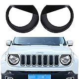 u-Box Black Headlight Cover Angry Bird Bezels Trim for 2015 2016 2017 Jeep Renegade