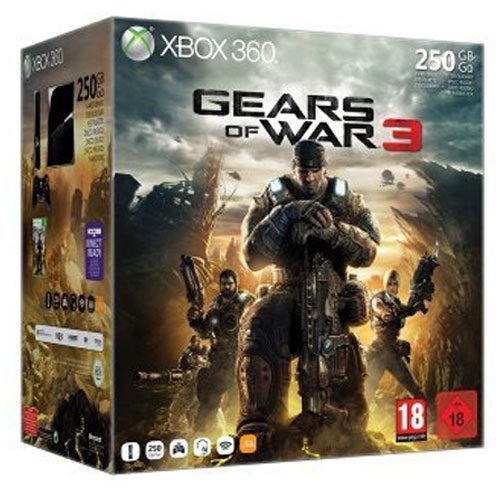 Microsoft  Xbox 360 Slim, 250GB + Gears of War 3