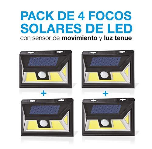 Pack de 4. Foco Solar Led con Sensor de movimiento. Foco Solar con Sistema Microled Ultima tecnologia. Luz Blanco Super Potente. Lampara Solar para Jardin. Con 3 posiciones. Luz Tenue