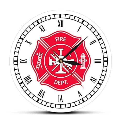 Reloj de Pared 30 cm Bombero Cruz de Malta Reloj Vintage First Responder Departamento de Bomberos Insignia Logo Reloj de Pared