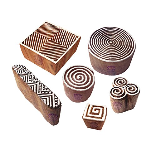 Artistic Motif Spiral and Finger Wooden Stamps for Printing (Set of 6)