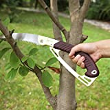 Folding Pruning Saw, Heavy Duty Foldable Hand Saw with Real Work SK-5 Blade, Safey Lock, Non-Slip Handle - 10 Inches Blade Handsaw for Pruning Trees, Trimming Branches, Wood Camping