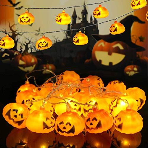 WNIPH Cadena de luces de Halloween, calabaza, 3 m, 20 luces LED, para decoración de casas, interiores, exteriores, jardines, Halloween, festivales, Navidad, bares, fiestas de Navidad