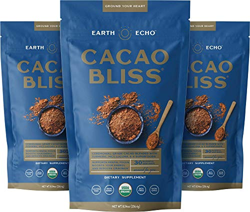 Earth Echo: Cacao Bliss - Organic Chocolate Powder Mix with Cinnamon, Turmeric, MCT Oil and Lucuma for Hot Cocoa, Smoothies and More - 30 Servings - Daily Health and Energy Superfood Support