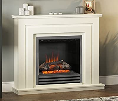 Be Modern Whitham Cream Surround Black Nickel Electric Fire Logs LED Fireplace Suite 2kW
