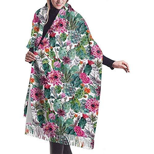 Elaine-Shop Bufanda Boho Style Cactus Flores suculentas Borla clásica Plaid Otoño e invierno Bufanda cálida