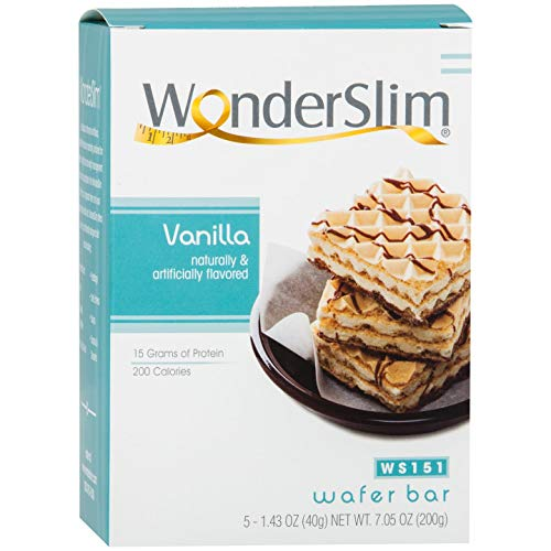 WonderSlim High Protein Wafer Bar - Vanilla (5 servings/box) - Trans Fat Free, Aspartame Free, Cholesterol Free
