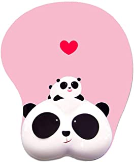 Anime Panda 3D Mouse Pad Ergonomic Soft Silicon Gel Gaming Mousepad with Wrist Support Animal Mouse Mat for PC Mac (Pink)